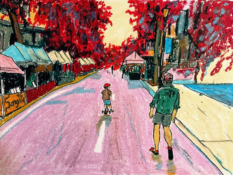 "Laura Baran ""Restaurant Row"", 2020, Oil pastel on paper, framed size 16"" x 14"", $425.00"