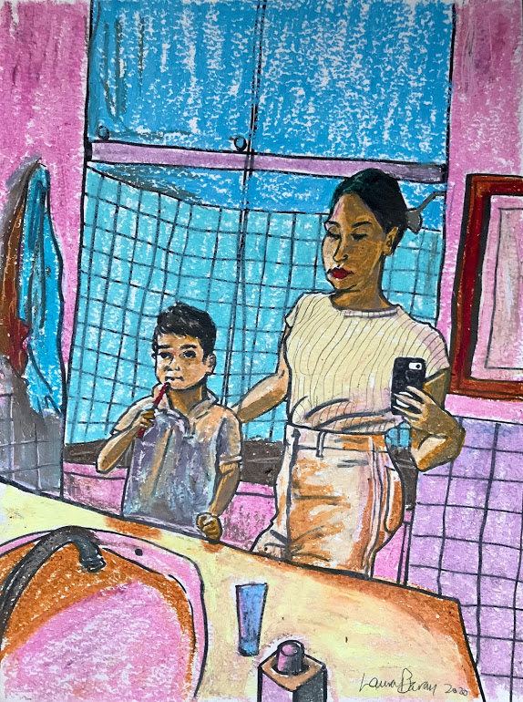 "Laura Baran ""Brushing Teeth At Gramma's House"", 2020 , Oil pastel on paper, framed size  11"" x 14"" $425.00"