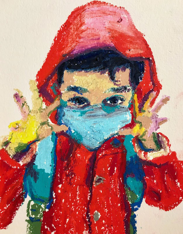 """Laura Baran """"Leo In His Red Rain Jacket, Mask And Backpack"""" 2020 Oil pastel on paper, framed size  11"""" x 14"""", $425.00"""
