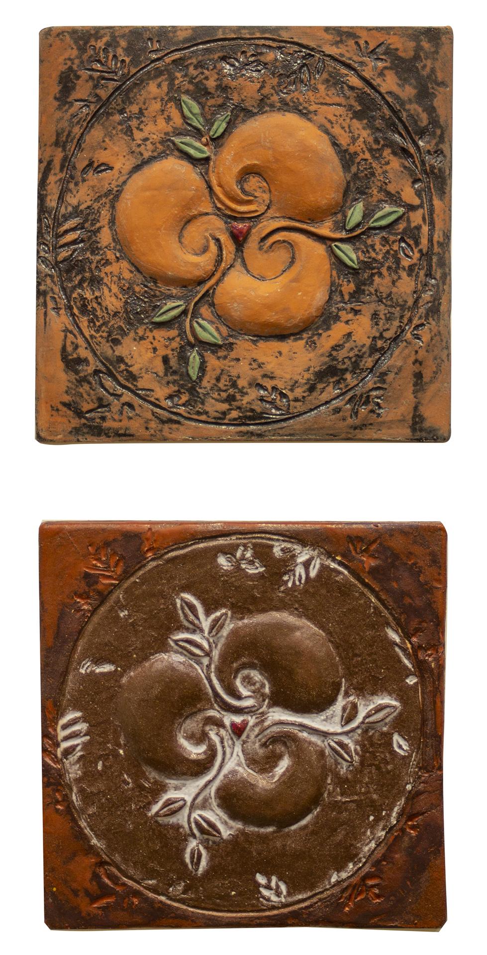 """Linda Vonderschmidt-LaStella  """"Divine Dance 1"""", sculpture clay and glazes, wall work, 10""""x10"""", 2020, $100.00 """"Divine Dance 3"""", sculpt clay and glazes, wall work, 10""""x10"""",2020, $100.00"""