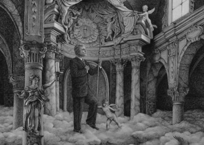 """Bill Ross """"Religiosity"""" charcoal and chalk on toned paper, $650.00"""