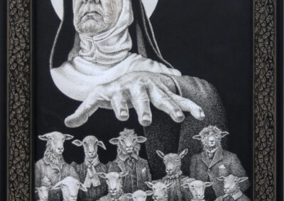 """Bill Ross """"Give Me That Old Time Religion"""" ink on Bristol paper, 19″ x 13″ – $250.00"""