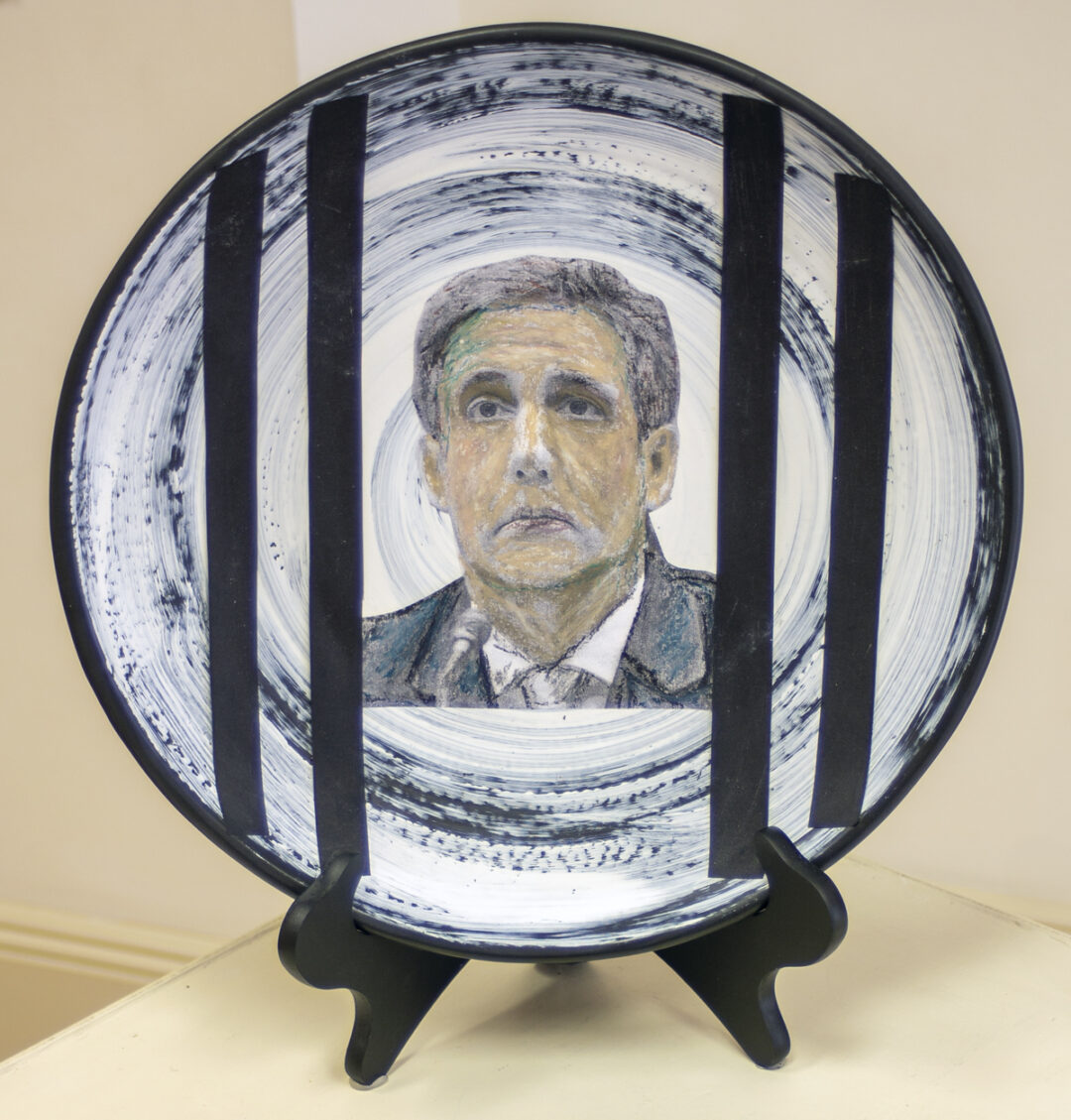 """Dina Robinson """"Do Not Work For Donald Trump"""" wheel thrown glazed porcelain platter with collage elements, 14″ Dia. – $100.00"""