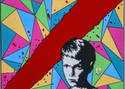 "Ellen Avigiliano  ""Rosemary"" (Rosemary's Baby, 1968) acrylic paint and paint pens, Swarovski crystals and resin adhesive on canvas, 11″ x 11″ NFS"