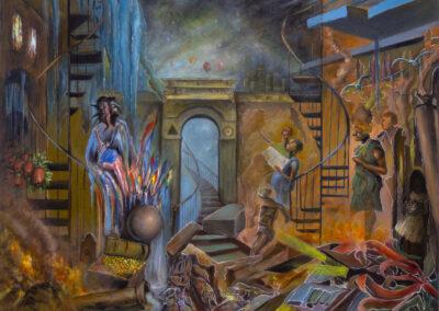"""Jean Edward Baptiste """"Call To The Captives' Soul"""" acrylic on canvas, 48″ x 38″ – $6,280.00"""