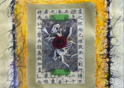 "John Marron  ""Mesa Deer Eulogy/Kanzeon"", mixed media, collage, 15″ x 18″ – $300.00"