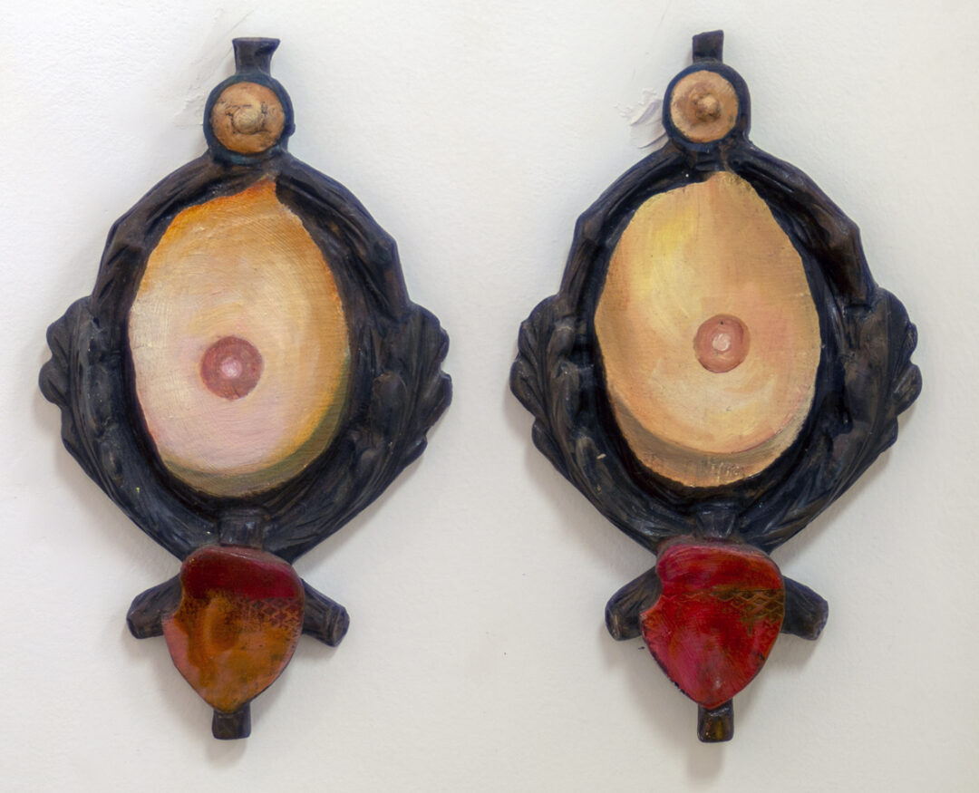 """Kristen T. Woodward """"Perfect Pair"""", mixed media on antler plaques, 6.5″ x 11″ – $200.00"""