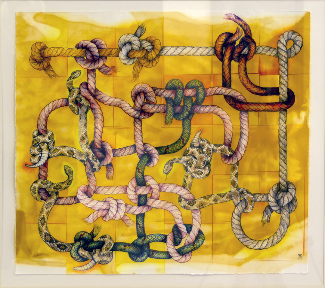 """Morgan Thomas Shankweiler """"Venomous Network/Gadsden Appropriation"""" mixed media on paper, (pencil, acrylic, ink and gouache) 24"""" W x 20""""H – SOLD"""