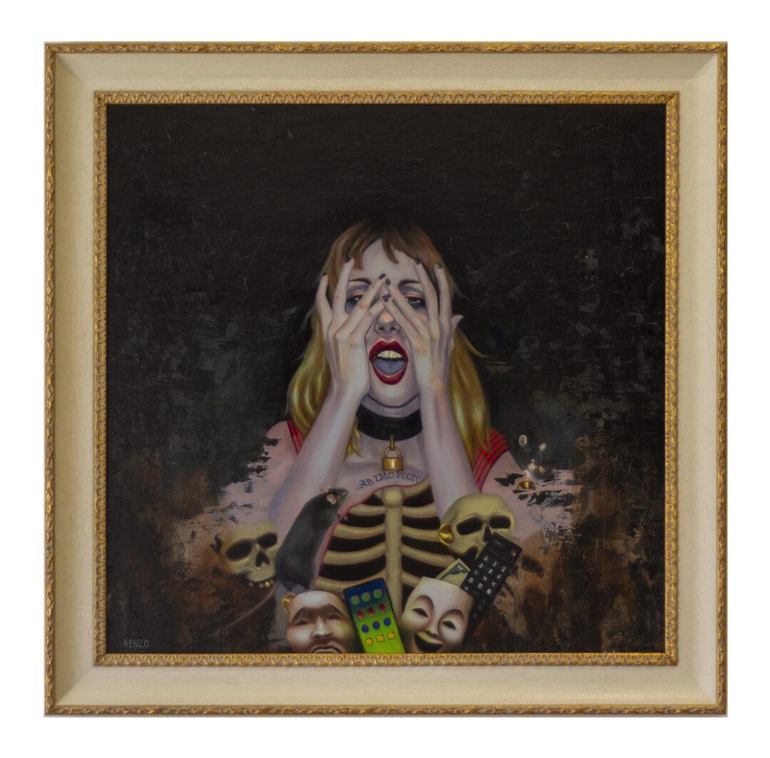 "Renzo Florez ""All Circuits Broken"" oil on wood panel, 24×24″-  $1,999.00"
