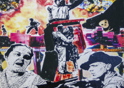 "Susan Eldridge Ward  ""The Sky Shall Unfold"" nail polish and print transfer on board, 24″ x 27″ – $800.00"