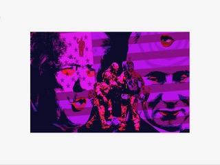 "Larry McCandlish ""Putin's Clown"" dynamically illuminated collage, inkjet dye on paper, wood, glass, custom electronics and light, 18"" x 11""- NFS"