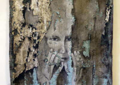 "Andrea McKenna ""Incision"" acrylic over limestone plaster on burlap, $2,500.00"