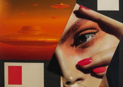 "Luis Alves: Collage ""Alien Attack (Orange)"" framed hand made collage, $450.00"