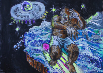"""Brian McCormack """"Alien and Bigfoot, BFFs Forever"""" mixed media on paper, $300.00"""