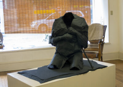 """Pat Feeney Murrell """"Remains VIII"""" flax handmade body paper wrapping, bamboo, on wood, $2,500.00"""